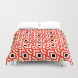 Round Pegs Square Pegs Red-Orange Duvet Cover