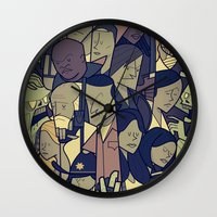 the walking dead Wall Clocks featuring The Walking Dead by Ale Giorgini