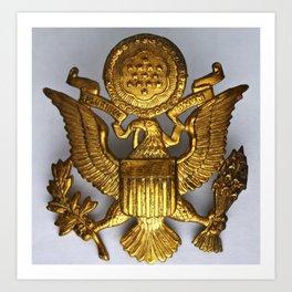 World War II Amcrest Eagle Badge for a Crusher Cap Art Print