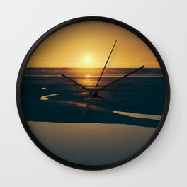 Sunset on Fistral Beach Cornwall. Wall Clock
