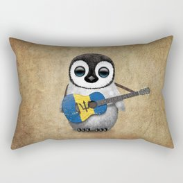 Baby Penguin Playing Barbados Flag Acoustic Guitar Rectangular Pillow