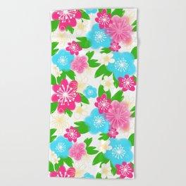 04 Pattern of Watercolor Flowers Beach Towel