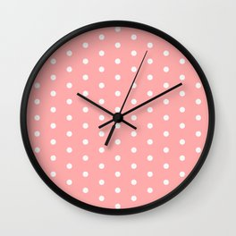 Polka dot pattern, classic pink, dotted, retro style design, white points circles, vintage pin-up Wall Clock