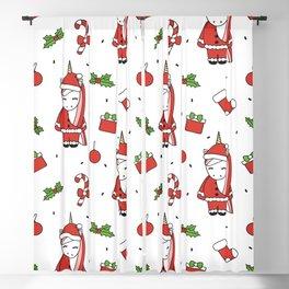 cute cartoon christmas pattern illustration with santa unicorns, gift boxes, socks, mistletoe Blackout Curtain