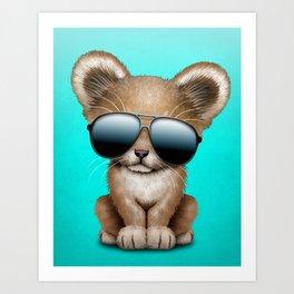 Cute Baby Lion Wearing Sunglasses Art Print