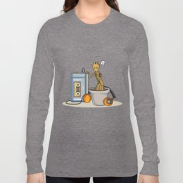 Baby Groot listening to the awesome mix vol.1 Long Sleeve T-shirt