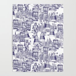 Doctor Who Toile de Jouy | 'Walking Doodle' | Blue Poster