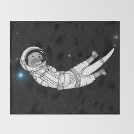 André Floating Around in Otter Space Throw Blanket