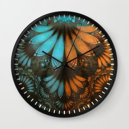 Shikoba Fractal -- Beautiful Leather, Feathers, and Turquoise Wall Clock