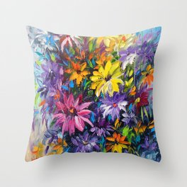 Dance of bright flowers Throw Pillow