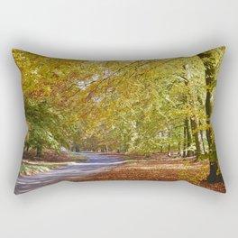 Remote country road through Autumnal woodland. Norfolk, UK. Rectangular Pillow