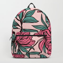Background of hand drawn flowers and leaves Backpack