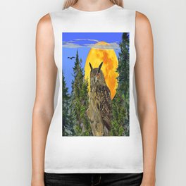 OWL WITH FULL MOON & TREES NATURE BLUE DESIGN Biker Tank