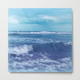 Blue Atlantic Ocean White Cap Waves Clouds in Sky Photograph Metal Print