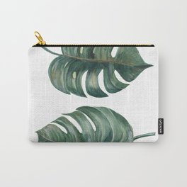 tropical Split Leaves Philodendron plant botanic watercolor painting on white background Carry-All Pouch