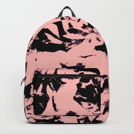Old Rose Black Abstract Military Camouflage Backpack