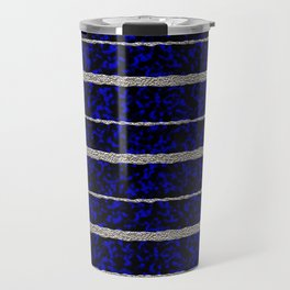 Silver Stripes with a Blue Plasma Background Travel Mug