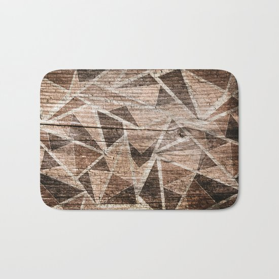 Old wood . Brown triangles . Bath Mat