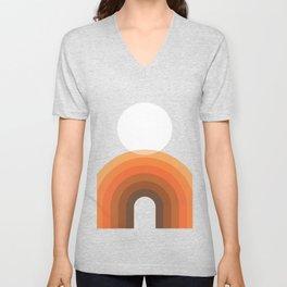 Mid Century Modern Geometric 13 (Rainbow and Sun) Unisex V-Neck