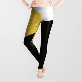 Gold & Black Geometry Leggings