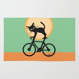 Cat loves a bike Rug