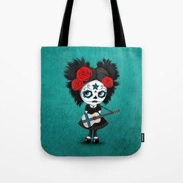 Day of the Dead Girl Playing Finnish Flag Guitar Tote Bag