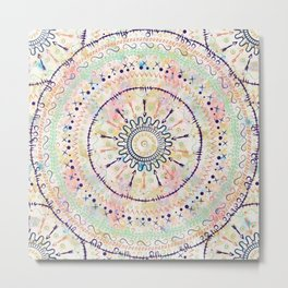 Whimsical watercolor tribal doddles mandala Metal Print