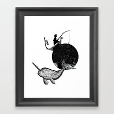 Narwhal In Space Framed Art Print