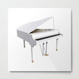 White Grand Piano Metal Print