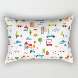 Watercolor Busy City Roads Cars Trucks Pattern Rectangular Pillow