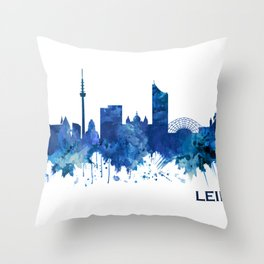 Leipzig Germany Skyline Blue Throw Pillow