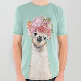 Llama with Flowers Crown #3 All Over Graphic Tee