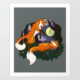 Playful Foxes Art Print