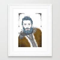 beard Framed Art Prints featuring beard by katiwo