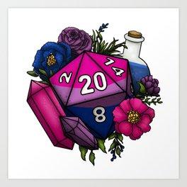 Pride Bisexual D20 Tabletop RPG Gaming Dice Art Print