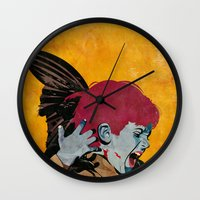 wesley bird Wall Clocks featuring Bird by Alvaro Tapia Hidalgo
