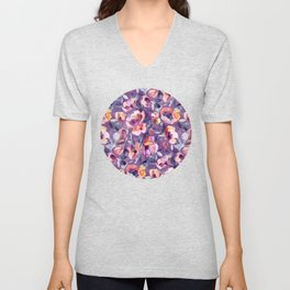 May Afternoon - a watercolor floral in purple and peach Unisex V-Neck