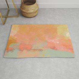 abstract peach sky on mint sea Rug
