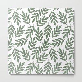 Vintage green white foliage leaves floral pattern Metal Print