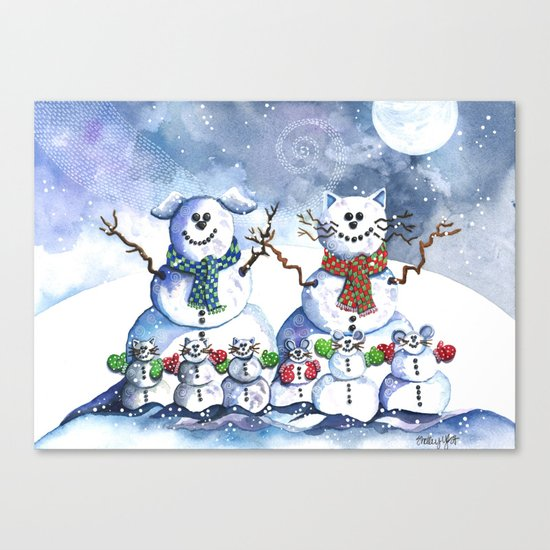 It's Snowing Cats and Dogs (and Mice too) Canvas Print