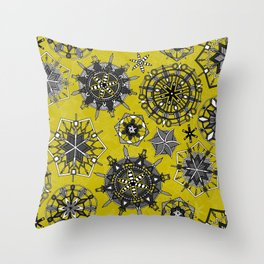 mandala snowflakes chartreuse Throw Pillow