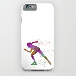 Roller skating in watercolor 04 iPhone Case