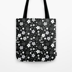 Black & White Floral Tote Bag