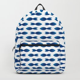Blue watercolor fish Backpack