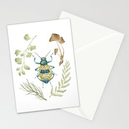 Coleoptera beetle in the Forest Stationery Cards