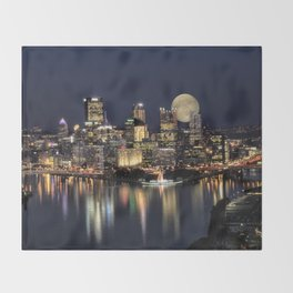 Moon Rise Over Pittsburgh Throw Blanket