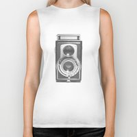 graphic Biker Tanks featuring Vintage Camera by Ewan Arnolda