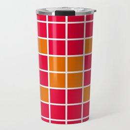 Magenta and Orange Grid Travel Mug