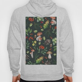 Hand painted pink red green watercolor autumn pattern Hoody
