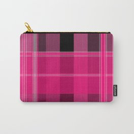 Shades of Pink and Black Plaid Carry-All Pouch